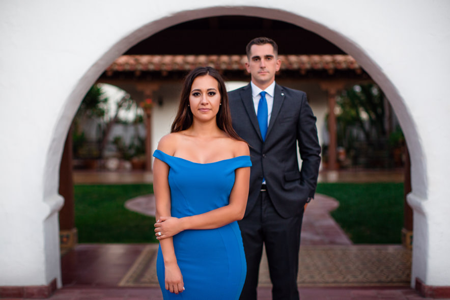 artistic picture of the couple being serious at Casa Romantica