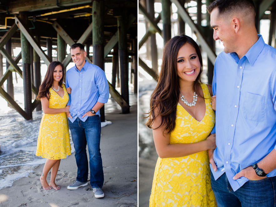 bride wears a bright yellow dress under the pier