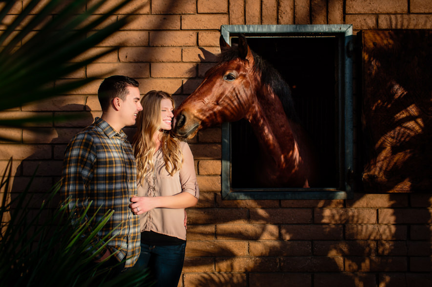 horse gives bride a kiss during a barn engagement session